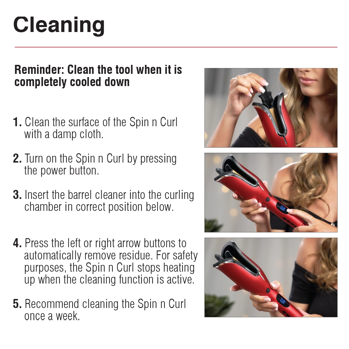 Spin N Curl - Cleaning Info CHI Haircare - Professional Hair Tools