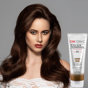 CHI Ionic Color Illuminate Conditioner Coffee Bean with Model 1 - CHI Hair Color