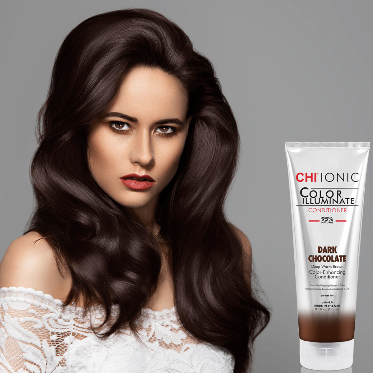 CHI Ionic Color Illuminate Conditioner Lavender Plum with Model 2 - CHI Hair Color