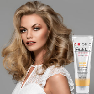 CHI Ionic Color Illuminate Conditioner Golden Blonde with Model 1 - CHI Hair Color