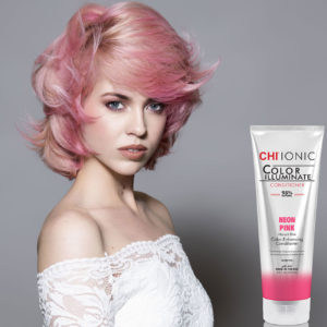 CHI Ionic Color Illuminate Conditioner Neon Pink with Model 1 - CHI Hair Color