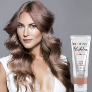 CHI Ionic Color Illuminate Conditioner Rose Gold with Model 1 - CHI Hair Color