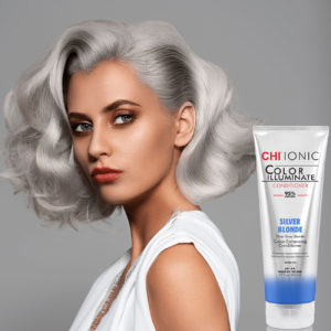 CHI Ionic Color Illuminate Conditioner Silver Blonde with Model 1 - CHI Hair Color