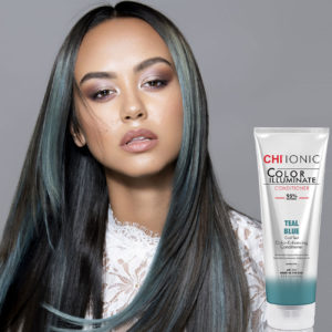 CHI Ionic Color Illuminate Conditioner Teal Blue with Model 1 - CHI Hair Color